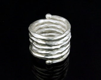 KY-013 thai karen hill tribe handmade silver swirl hammered wire ring
