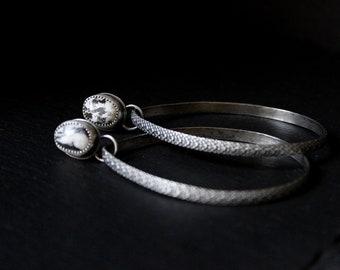 READY TO SHIP - White Buffalo Turquoise Sterling Silver Earrings Stud Hoops #003 | Teardrop Studs Post | Gugma Women's Minimalist Jewelry
