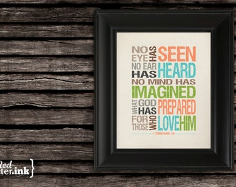 Wall Art - No Eye Has Seen 1 Corinthians 2:9 (canvas, orange, green, blue) - 8 x 10 Print