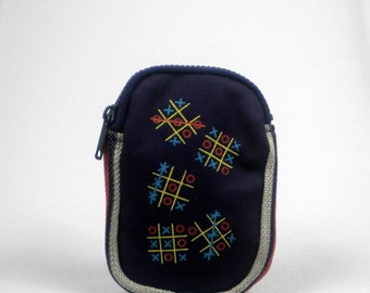 Vintage Navy Blue Tic Tac Toe  pouch