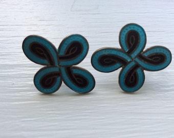 Vintage Mexico Silver and Enamel Screw back Earrings * Blue and Black Earrings