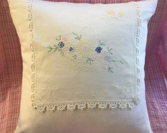 Vintage Hand Embroidered Doily Pillow with Lacework