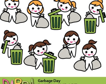Garbage day clipart, planner girl clip art commercial use / throw trash bag, trash bin clipart / planner sticker printable clipart download.