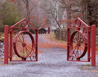 "From the ""Appalachian Scenic"" Series.  Fall foliage gate scene."