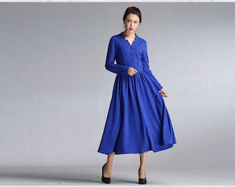 Blue dress swing dress full length dress Plus size dress cotton dress