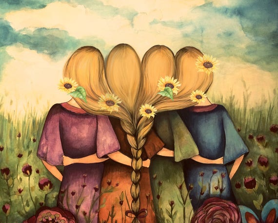 The four blonde sisters best friends brisdemaid present  art print