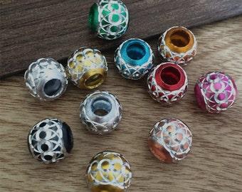 50Pcs  10mm Mixed color (o shape pattern ) aluminum  Beads