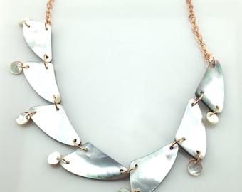 Reversible Seven Star Mussel Shell Necklace Tsalagi Cherokee Made