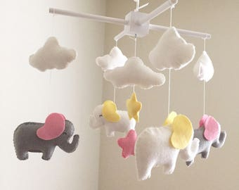 White and gray elephant baby mobile, elephant mobile, baby mobile, nursery crib mobile, pink and yellow baby mobile, cloud and star mobile