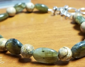 Earth Green stone and Brown glass beaded bracelet