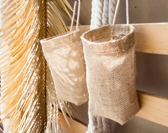 Set of 4 Hanging Basket, Burlap Hanging Bag,