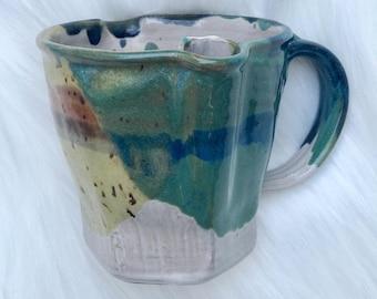 colorful handmade ceramic mug