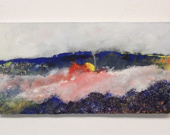 contemporary art painting, abstract painting, textured painting, modern landscape painting, mixed media, gift for him, gift for desk