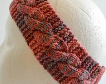 Wool Ear Warmer, Winter Headband, Cabled Headband, Wool Headband, Womens Hairband, Hand Knit, Cabled Head Wrap