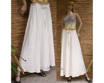 Emily - Long Bellskirt Cirkle Cut Long Linen Skirt