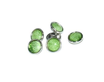 Snap - MINI - Metal Doublebeads - synthetic Cabochon - Crackle effects - green and silver - BPSYMI1215VE0100