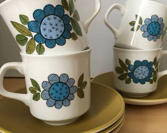 J and G Meakin Topic cup and saucer