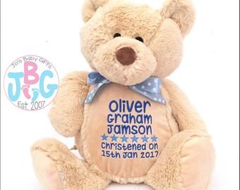 Personalised teddy bear, New baby Gift, Embroidered birthday Gift, Boys and girls Teddy Bear, Baby shower, 1st birthday, Custom Bears
