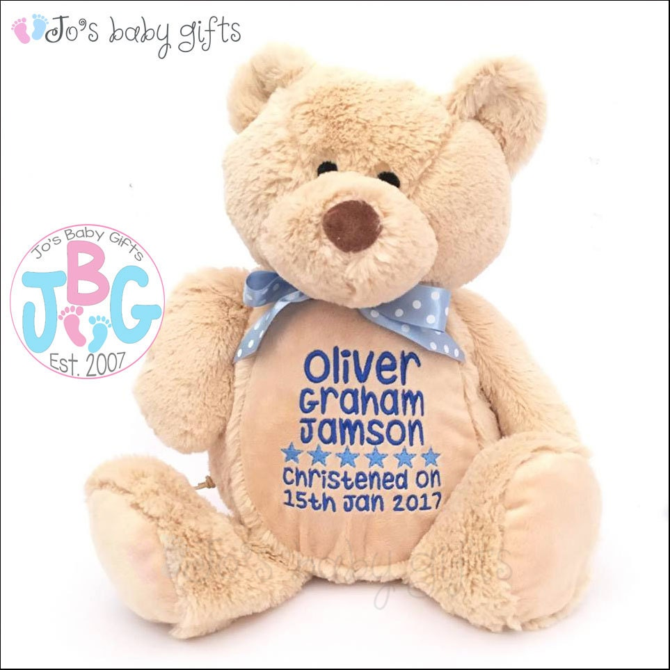 Personalised teddy bear new baby gift embroidered birthday gift personalised teddy bear new baby gift embroidered birthday gift boys and girls teddy bear baby shower 1st birthday custom bears negle Gallery