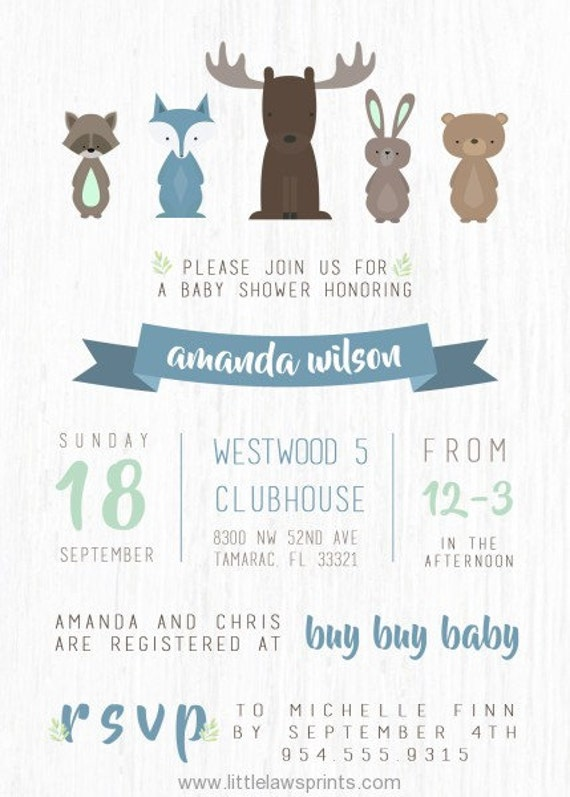 Woodlands Baby Shower Invitation