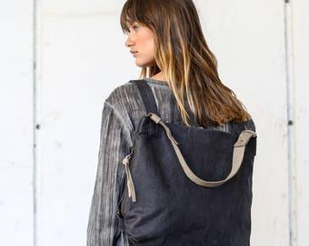 Black Leather Backpack Purse, Student Leather Bag, Handmade Tote Bag, Zipper Hobo Bag
