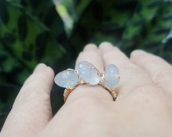 Three Stone Chalcedony and Gold Wire Wrapped Ring - Size 5.5 // Gifts for Her