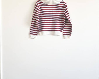 Vintage Red, Navy and White Stripe Sweater