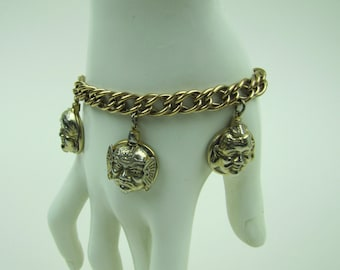 Vintage Asian Chinese Fob Charm Bracelet. Figural Buddha Heads Glass Seals. Art Deco Gold Filled Charm Bracelet. Oriental Japanese Jewelry