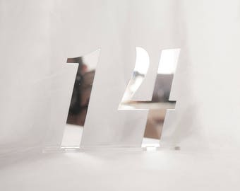 """Table Numbers 5"""", Mirror acrylic Table Numbers , Wedding Table Numbers, Wedding Table Numbers Set, Wedding Table Decor"""