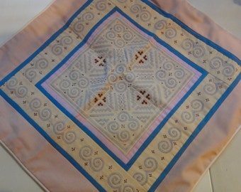 Hand stitched ethnic mother gift home decor unique pink blue Hmong pillow