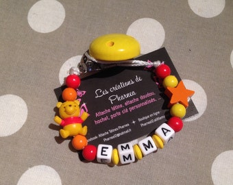 Personalized with name winnie the Pooh pacifier pacifier star orange red yellow orange