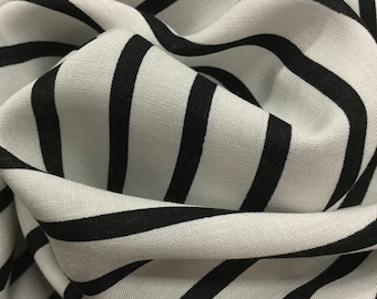 "56""Width Black and Off-White Stripes Rayon Fabric"