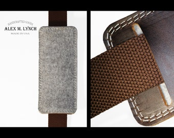 shoulder strap Pad - leather and wool felt combination - FREE STAMPING