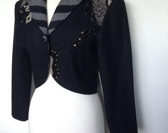 High Fashion Designer Vintage 80s Crop Jacket / With Unique Artistic Detailing / Festival Performer Jacket / One Of A Kind