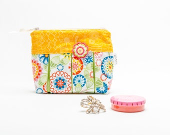 Floral Makeup Pouch - Wash Bag Women - Cosmetic Bag For Women - Makeup Pouch For Purse - Smocked Bag - Zipper Pouch - Fabric Makeup Bag