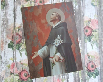 """Vintage St. DOMINIC of the ROSARY Catholic Art Print  6x8"""" never displayed from the 1970's"""