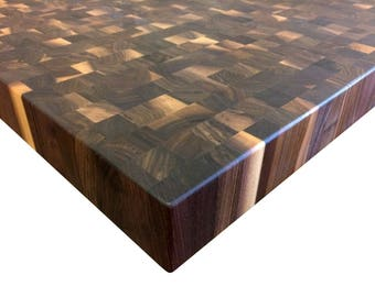End Grain Rustic Walnut Butcher Block Countertop   Island   Chopping Block    Custom Sizes Available