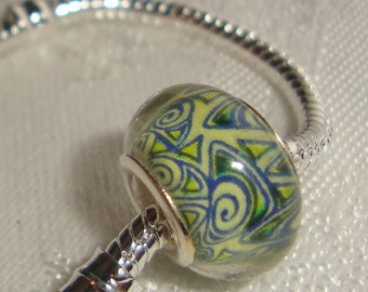 1 European Bead Mod Mid-century style Green w Blue Abstract Line Design fun summer Charm Big Hole 5mm silver Core acrylic  EB021