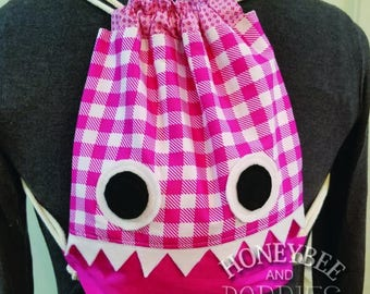 Girls back pack, tote, drawstring monster bag, pink big eyed friendly creature
