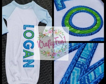 Baby Gown, Applique Baby Gown, Baby Gown with Name, Personalized Baby Gown, Custom Baby Gown, Coming home outfit for baby