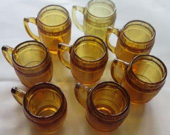 Set of Eight Wheaton Miniature Amber Root Beer Barrel Toothpick Holders Shot Glasses
