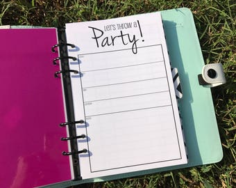 Printed Half Letter Size Party Planning Kit