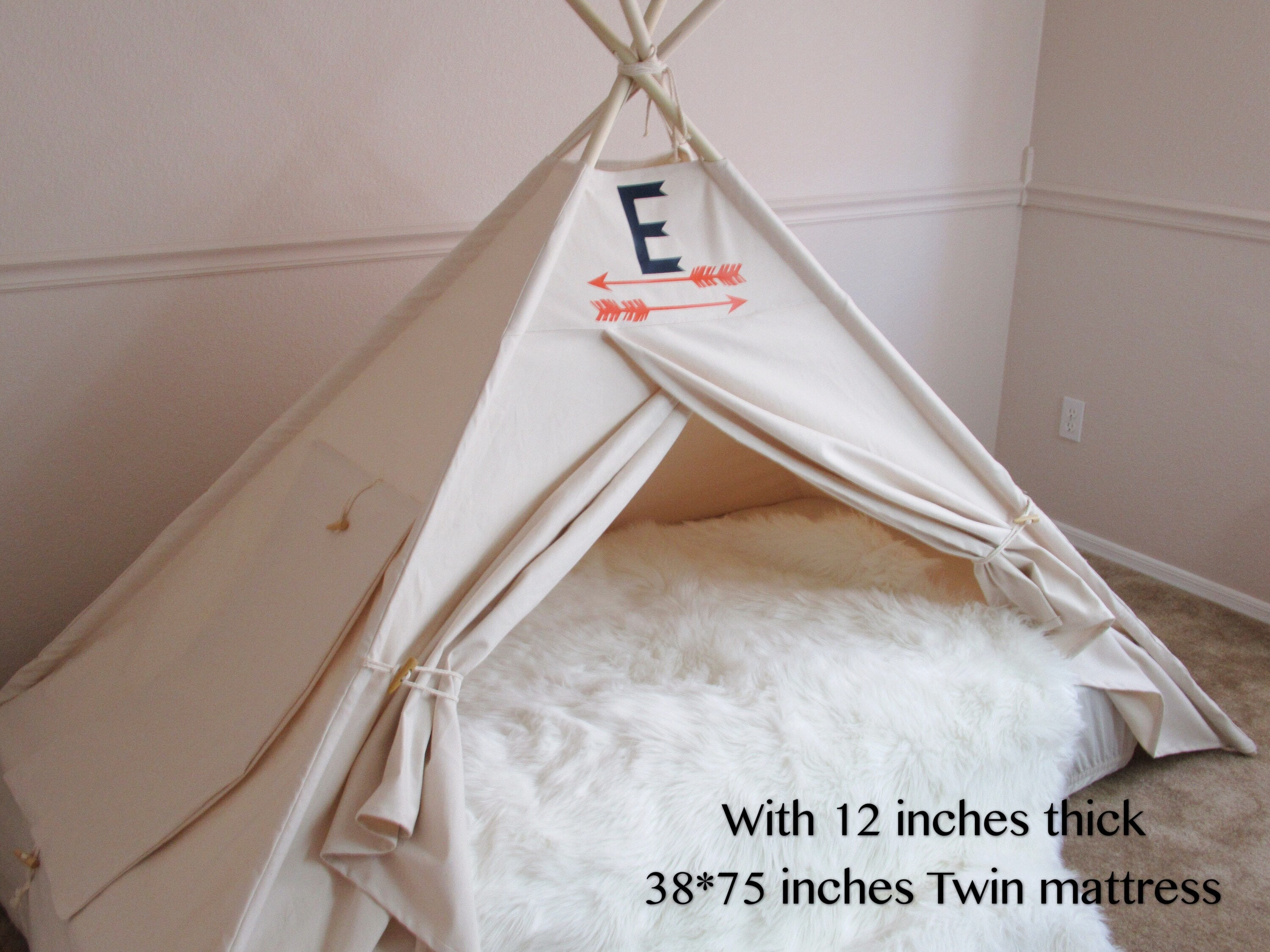 Plain Bed canopy teepee with secret door tent bed canopy teepee canopy for bed kids Teepeewith canvas and Overlapping front doors & Plain Bed canopy teepee with secret door tent bed canopy teepee ...