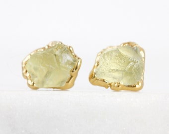 hiddenite studs / spodumene studs / kunzite studs / lemon quartz studs / light yellow studs / raw crystal studs / yellow crystal studs