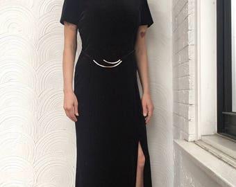 1980s Velvet Dress with Faux Belt