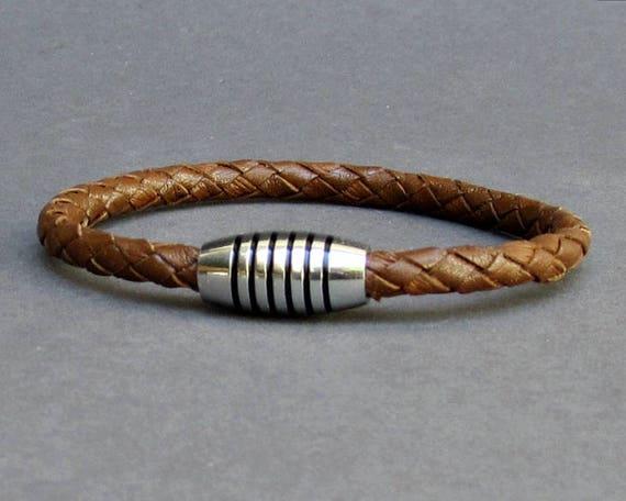 Braided, Leather Bracelet, Mens Titanium Stainless Steel Mens Leather bracelet Cuff Gift For Men Customized On Your Wrist