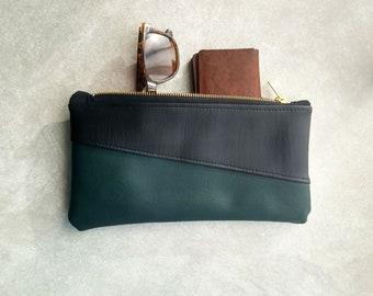 Black & Forest Green Makeup Bag