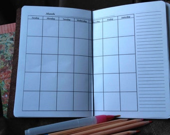 Purse Size Weekly, Monthly Planner and Bonus Grid Paper and Lined Paper