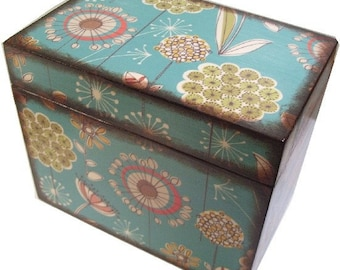 Recipe Box Decoupaged  Large and Handcrafted Teal Retro Mod, Holds 4x6 Recipe Cards  MADE TO ORDER