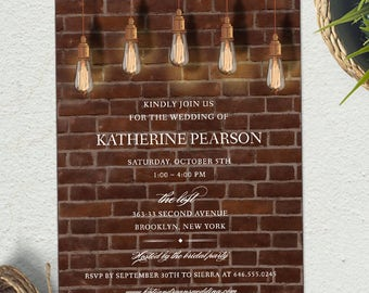 Vintage Edison Lightbulbs Industrial Bridal Wedding Shower Invitation; Printable, Evite or Printed (US Only) Invitations